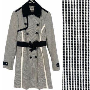 KAREN MILLEN Black White Check Grid Cotton Trench